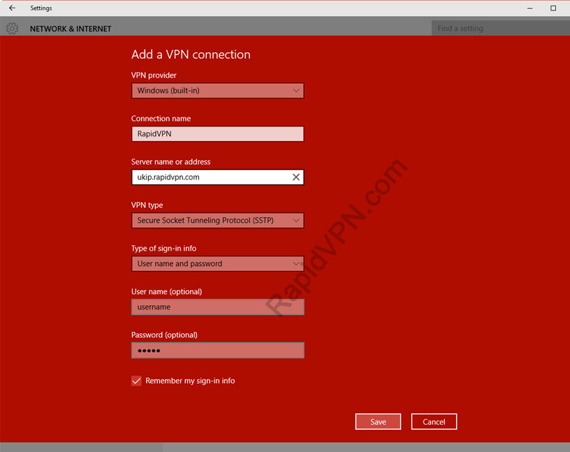 SSTP VPN connection on Windows 10 - Step 4