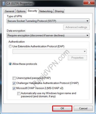 SSTP VPN connection on Windows 7 - Step 14