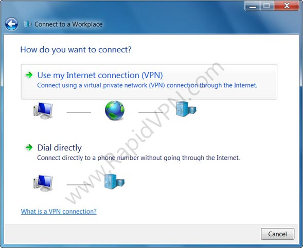 SSTP VPN connection on Windows 7 - Step 5