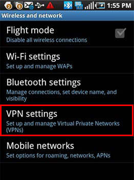 PPTP VPN connection on Android - Step 2