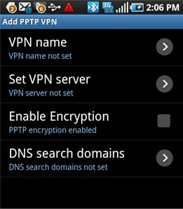 PPTP VPN connection on Android - Step 4