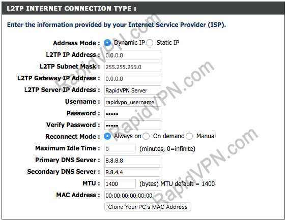 L2TP VPN connection on D-Link Router - Step 3