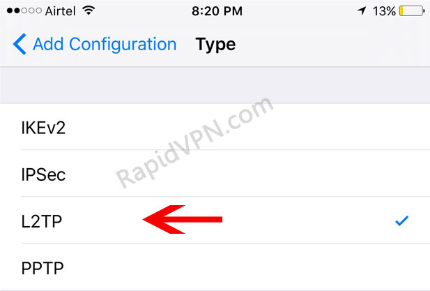 L2TP VPN connection on iOS 9 - Step 5