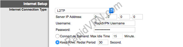 L2TP VPN connection on Linksys Router - Step 1