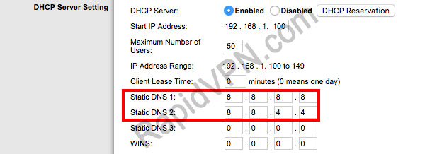 L2TP VPN connection on Linksys Router - Step 2