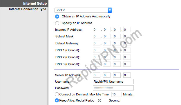 PPTP VPN connection on Linksys Router - Step 1
