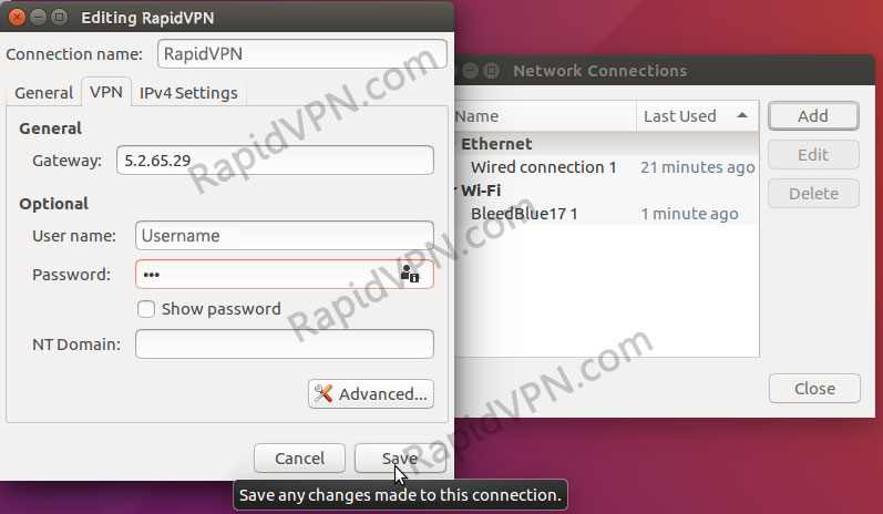 PPTP VPN connection on Ubuntu - Step 6