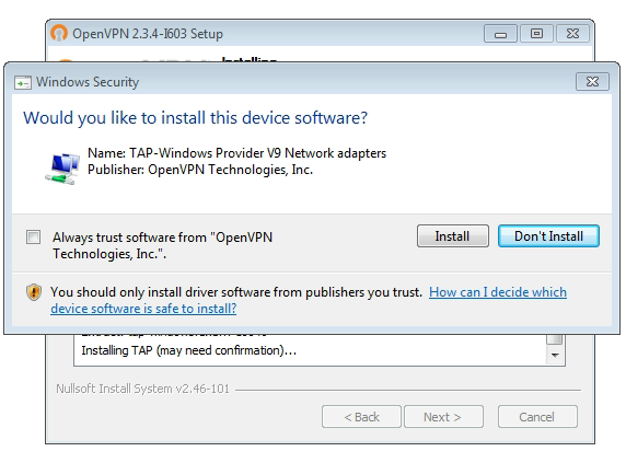 OpenVPN connection on Windows Vista - Step 5