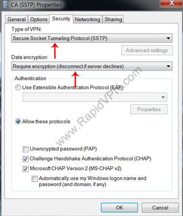 SSTP VPN connection on Windows Vista - Step 13