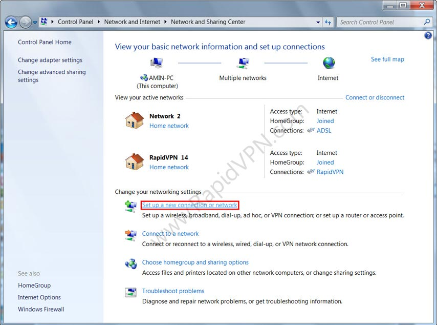 SSTP VPN connection on Windows Vista - Step 2