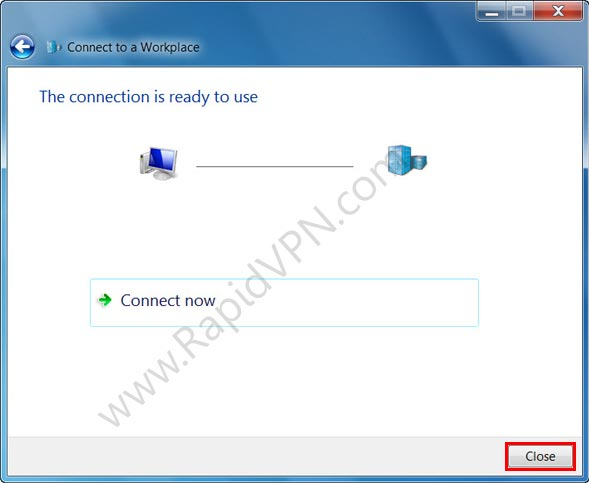 SSTP VPN connection on Windows Vista - Step 8