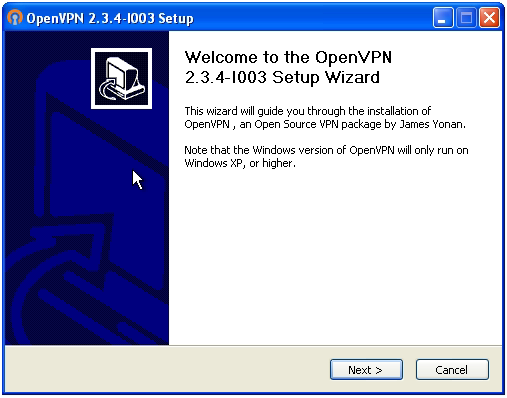 OpenVPN connection on Windows XP - Step 1