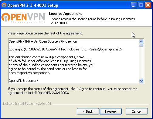 OpenVPN connection on Windows XP - Step 2
