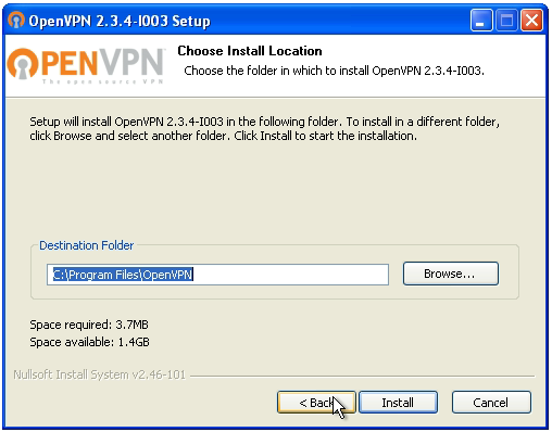 OpenVPN connection on Windows XP - Step 4