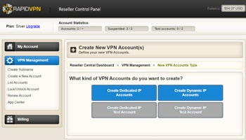 RapidVPN Reseller Control Panel - Screen 2