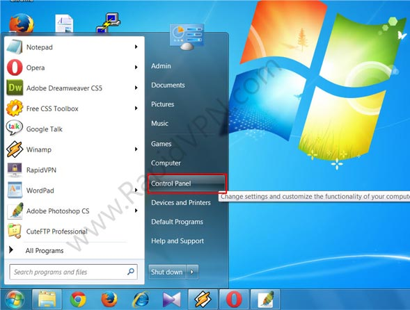 PPTP VPN connection on Windows 7 - Step 1