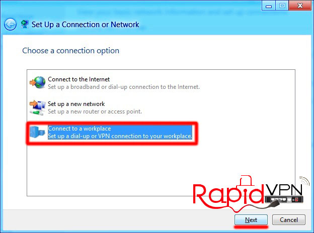 PPTP VPN connection on Windows 8 - Step 2