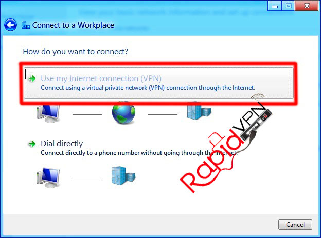 PPTP VPN connection on Windows 8 - Step 3