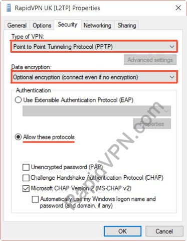 PPTP VPN connection on Windows 8 - Step 7