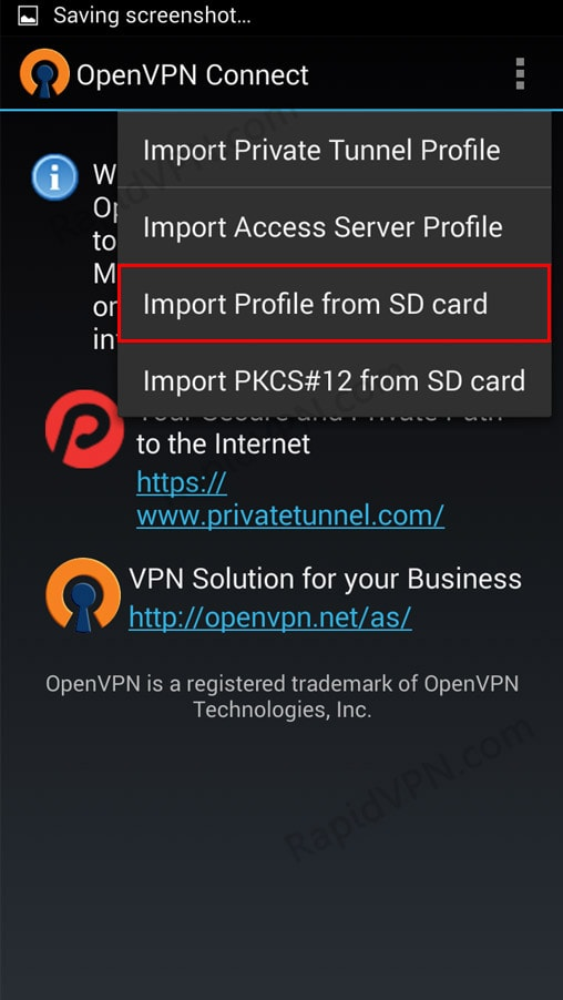 OpenVPN connection on Android - Step 6