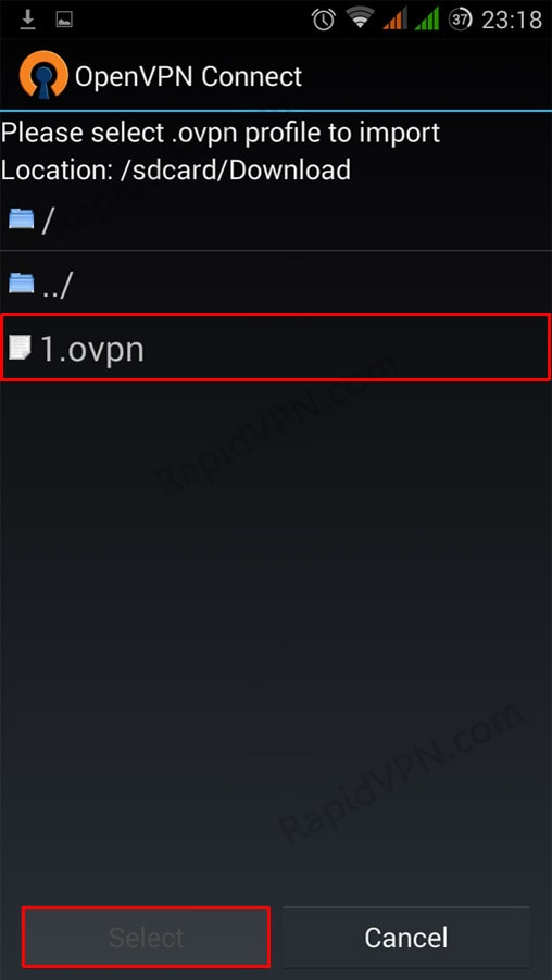 OpenVPN connection on Android - Step 7
