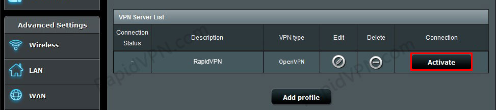 OpenVPN connection on ASUS Router