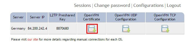 OpenVPN connection on Chromebook - Step 1