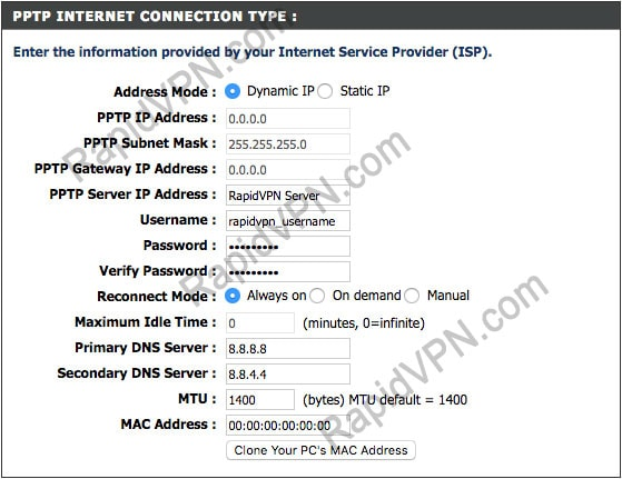 PPTP connection on D-Link Router - Step 3