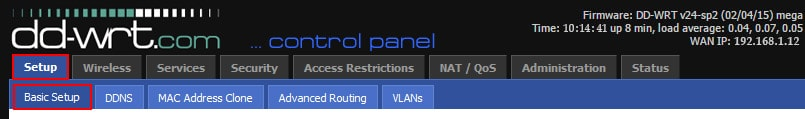 L2TP VPN connection on DD-WRT Router - Step 1