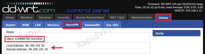 OpenVPN connection on DD-WRT Router - Step 7