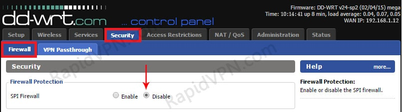 PPTP VPN connection on DD-WRT Router - Step 2