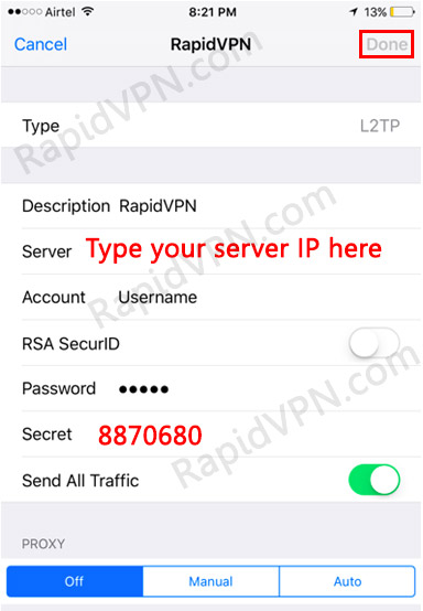 L2TP VPN connection on iOS - Step 6