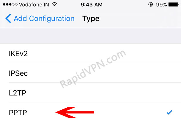 PPTP VPN connection on iOS - Step 5