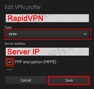 PPTP VPN connection on Kindle Fire - Step 4