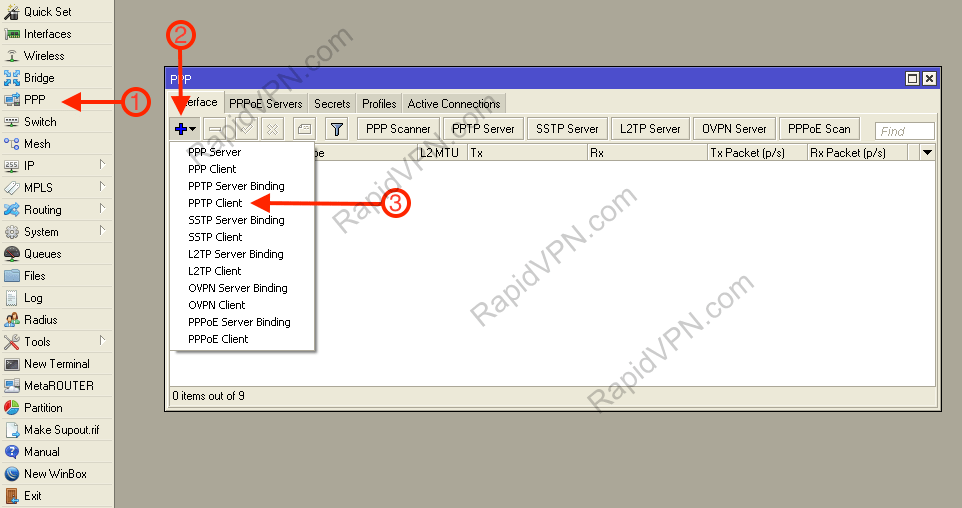 PPTP VPN connection on Mikrotik Router - Step 1