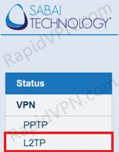 L2TP VPN connection on Sabai Router - Step 1