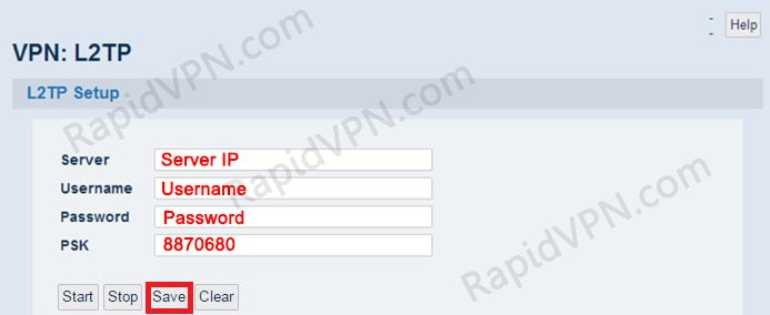 L2TP VPN connection on Sabai Router - Step 2