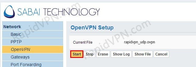 OpenVPN connection on Sabai Router - Step 6