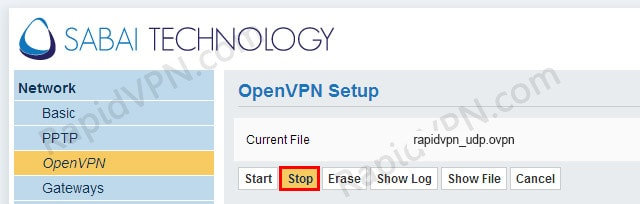 OpenVPN connection on Sabai Router - Step 8