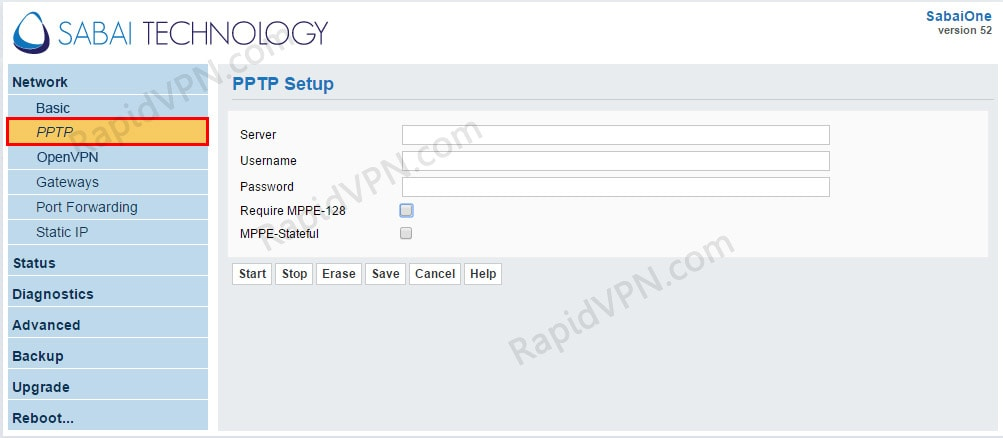 PPTP VPN connection on Sabai Router - Step 1