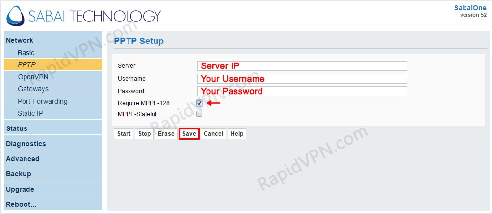 PPTP VPN connection on Sabai Router - Step 2