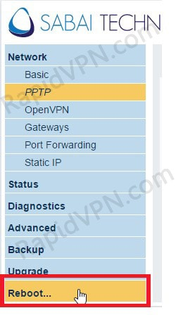 PPTP VPN connection on Sabai Router - Step 3