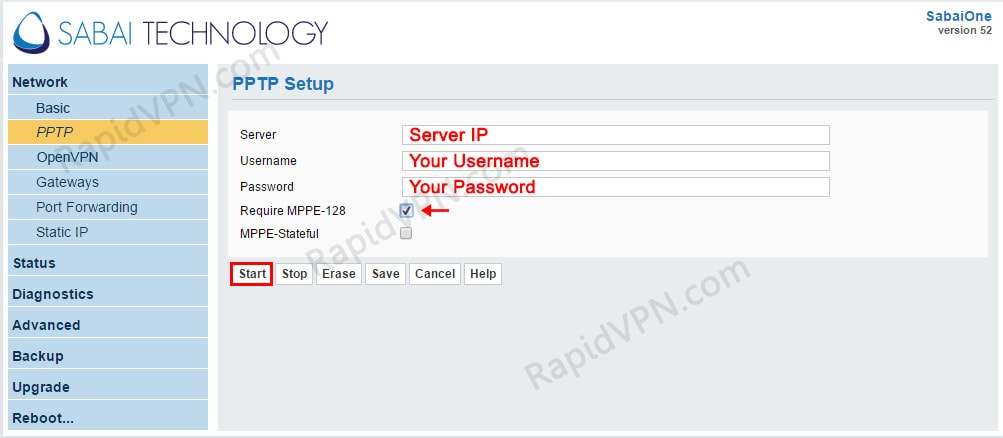 PPTP VPN connection on Sabai Router - Step 4