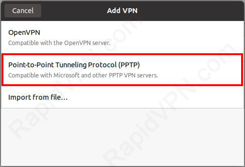 PPTP VPN connection on Ubuntu 20.x - Step 3