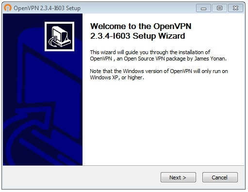 OpenVPN connection on Windows Vista - Step 1