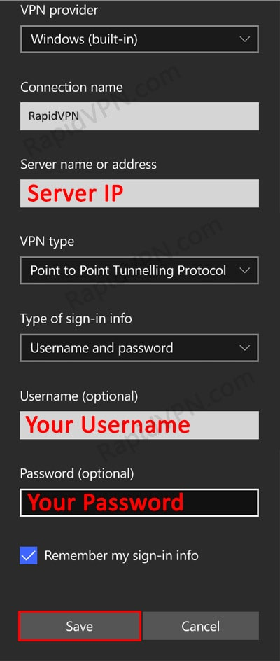PPTP VPN connection on Windows Phone- Step 3