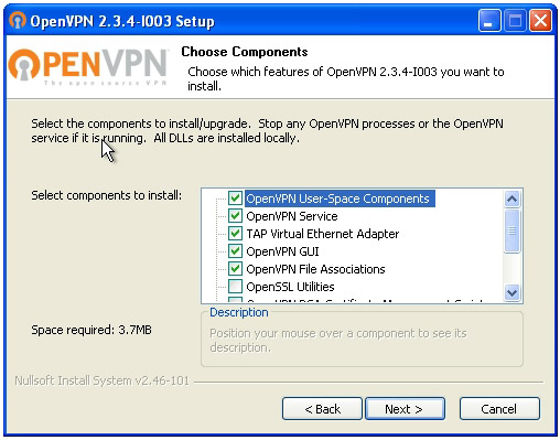 OpenVPN connection on Windows XP - Step 3